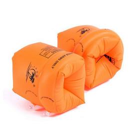 Schwimmen ring arm online-2 Teile / los Erwachsene / Kind Gelb Verdicken PVC Schwimm Arm Ring Schwimmringe Kinder Aufblasbare Schwimmen Leben Air Sleeves Inflatables