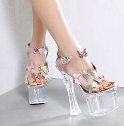 95eba9b19a43 Discount 18cm high heel pumps - 18cm 2019 bride wedding shoes fashion  butterfly silver transparent platform