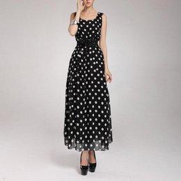Mousseline de soie Polka Dot Long Sleeve Maxi Robe de soirée des femmes de la mode plus ? partir de fabricateur