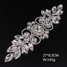 rhinestones appliques for dresses wholesale Promo Codes - HOT NEW 1PCS 22CM*6.3CM Free shipping Rhinestones applique for Wedding Dress Flower Silver Crystal DIY Sewing decoration