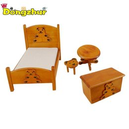 Deutschland Schlafzimmermöbel Holz Krippe Bett Baby Roundtable Bank Hocker 1:12 Puppenhaus Miniaturen Set Kinder Puppenhaus supplier kids crib bedding set Versorgung