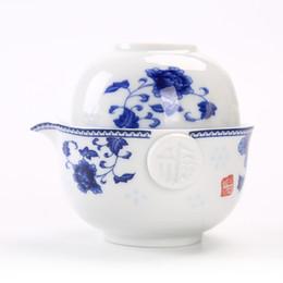 Conjunto de chá de viagens de porcelana azul e branca incluem 1 pote 1 xícara, elegante gaiwan, chaleira de bule bonita e fácil, kung fu teaset de