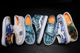 Grafiti personalizado online-2018 Fashion Museum x Sunflower Old Skool para mujer para hombre Zapatos casuales Vault x Custom Graffiti Flores Lienzo Skateboard Sport Zapatillas AOOX