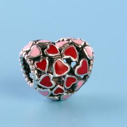 пандора бисер сердце набор Скидка Подлинная стерлингового серебра 925 пробы комплект аксессуаров для браслета Pandora оригинальная коробка DIY любовь в форме сердца бусы очарование