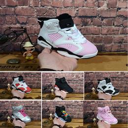 Недорогая обувь для девочек онлайн-Nike air max jordan 6 retro 2018 Детские 6 VI баскетбол обувь дети 6 S Спорт мальчики девочки молодежь детские спортивные кроссовки дешевые для продажи размер 28-35