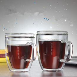 Fare tazze online-Bicchieri Isolanti Trasparenti di Vetro Tazza Doppia Tazza da Caffè Tazza di Isolamento Termico Sicurezza Fare Isolamento termico per il Tè Vendita calda 13lsE1