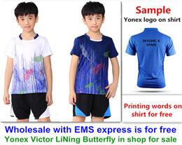 Deutschland Wholesale EMS für freies, Textdrucken für freies, neues Kindkindbadmintonhemd kleidet Sporthemd des Tischtennis T kleidet 006 Versorgung