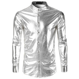 bright collar shirt Promo Codes - Spring Autumn Men's Shirts Long Sleeve Slim Fit Basic program Bright Performance show White Male Social Shirts Tops Clothing