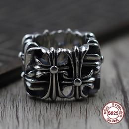 joyas de oro 18k Rebajas S925 individualidad de anillo de plata pura para hombres Restauración de formas antiguas El estilo punk Un clásico anillo de lápida cruzada dominante