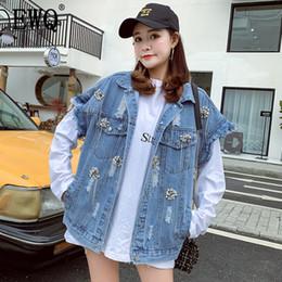 le donne vestono lo stile coreano Sconti [EWQ] 2019 primavera nuovo stile coreano manica lunga Diamante Hole Vintage allentato Moda donna selvaggia giacca di jeans gilet senza maniche QG504