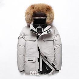 Männlicher weißer mantel online-Mens Winter Fashion Designer Parkas Kanada Schwarz Weiß Bunte Warm Hooded Zipper Mäntel Männlich Mode Winter-Classical Parkas