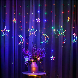 star lights window Promo Codes - Leeiu Moon Star LED Curtain fairy Light String Xmas Window Ornament Garland Merry Christmas Decor For Home 2020 New Year Supply