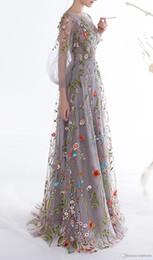 2019 vestígios na moda 2018 novas mulheres mangas compridas vestidos de baile moda floral bordado a linha vestidos de noite formal vestidos de festa pageant dress vestios de desconto vestígios na moda