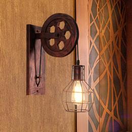 polia luzes pendentes cozinha Desconto Loft Retro Lanternas Luminárias de Parede Da Polia Luminária Suspensão de Luz Encaixe de Cozinha Quarto Sala de estar Lâmpada de Parede Bar Arandela