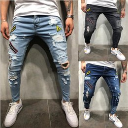 legging zerstört Rabatt Mode für Männer Stretchy Ripped Skinny Biker Jeans Destroyed gegurtet Slim Fit Bein Denim Hosen Male Pencil Pants