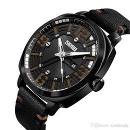 водонепроницаемые цифровые спортивные часы черный Скидка SKMEI 1351 Армия Военные Цифровые Часы Мужчины Спортивные Часы Кожаный Ремешок Белый Арабский Номер Классический Черный Циферблат Водонепроницаемые Наручные Часы