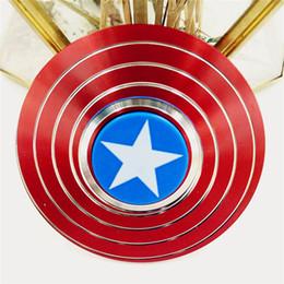 Hilanderos de oro inquieto online-Finger Spinner Reduse Stress Relief Ansiedad Juguetes Capitán América Escudo Hombre araña Mejor autismo Fidgets Spinners Juguetes para adultos y niños