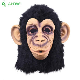 2019 fantasia de macaco halloween fantasia de adulto Atacado-Super Lovely Monkey Head máscara de látex Full Face Adult Mask Halloween Masquerade Fancy Dress Party Traje Cosplay Máscara animal bonito fantasia de macaco halloween fantasia de adulto barato