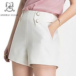 58d239a3d3 pantalons courts pour femmes jupe Promotion Shorts femme été taille haute  pantalon poche feminino double boutonnage