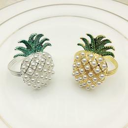золото серебро ананас с жемчугом кольцо для салфеток свадебные праздничные украшения семья при свечах держатель для салфеток 24 шт от