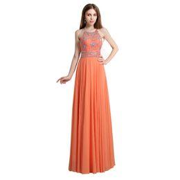 AJ020 Auf Lager Chiffon Abendkleider Neckholder Perlen Bodenlangen Formale Abendgesellschaft Kleid Unter 30 $ von Fabrikanten