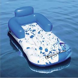 schwimmen schwimmer bord Rabatt 2019 neueste Riesen Blau Liegestuhl Aufblasbare Pool Float Sommer Luftbett Klappinsel Strandliege Schwebebett Floß Schwimmbrett