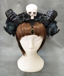 eadwear accessories Chica Halloween Estéreo Devil Horns Skull Headband Gothic Sheep Horn Flowers Tocado Hairband Cosplay Headwear Access ... desde fabricantes