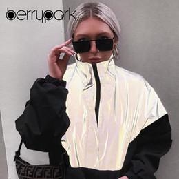 2019 productos de patchwork BerryPark Night Reflexivo Tendencias Productos Chaqueta suelta Moda 2019 NUEVO Patchwork de invierno Abrigo de gran tamaño Outwear Envío de la gota productos de patchwork baratos