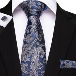 2019 gemelli di cravatta arancione 26 stile Paisley da uomo cravatta gemelli Hanky cravatte intrecciate jacquard per uomo matrimonio affari blu oro rosa arancione cravatta maschile gemelli di cravatta arancione economici