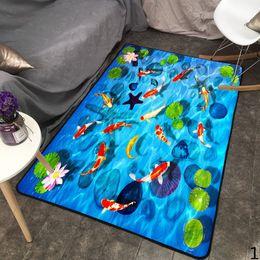 Piedra azul mar online-2019 El Nuevo 3d de dibujos animados de la ilusión óptica del mar del océano de piedra de la playa de la alfombra antideslizante Salón Dormitorio de noche Alfombra de Mesa de la alfombra