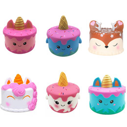 Cola de látex online-Squishy CutePink Unicorn Toys 12CM Colorido Jirafa Cat Ears Unicorn Cake Tail Cakes Niños Regalo divertido Squishy Slow Rising Kawaii Squishies Juguetes