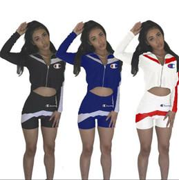 chaqueta corta chica conjunto Rebajas Mujeres Niñas Moda Chándal Campeones Traje de verano Impresión de la letra Cremallera de manga larga Crop Hoodie Jacket + Shorts 2pcs Set traje de empalme C3201