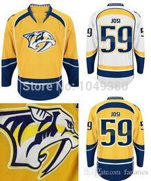 Нэшвилл хоккей джерси синий онлайн-Мужские хищники Nashville # 59 Roman Josi Jersey Home Yellow Road Белый альтернативный темно-синий Дешевые футболки для хоккея с шайбой