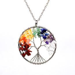 diseños de medallón de oro para las mujeres Rebajas 12pc / set Collar de árbol de la vida 7 cuentas de piedra de chakra amatista natural joyería de cadena de plata collar de gargantilla para el regalo de la mujer YD