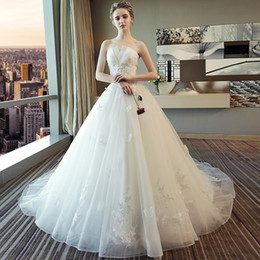 6312a90d603 Mingli Tengda Sexy Simple Sweep Train Wedding Dress Princess Dream 2018 New  Lace Beads Off Shoulder Strapless Wedding Bride Wedding Dresses
