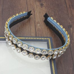 tiara coroa vintage branco Desconto Coreano Moda Jóias Faixa de Cabelo Acessórios brilhante Limpar completa Cristal Pedra Azul Hairband Rhinestone Headbands For Women Wedding
