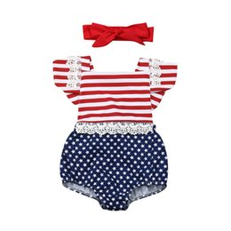 день независимости Скидка Independence Day Cotton Romper For Girls 2019 Summer Newborn Baby Girl Romper Star Stripe Flag Jumpsuit Headband Outfits Clothes