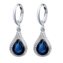 2019 ohrring künstlich 2019 luxus brincos lange ohrring künstliche blaue kristall ohrringe wassertropfen typ ohrringe für frauen modeschmuck günstig ohrring künstlich