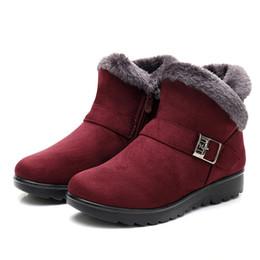 botas de cuña negras de las mujeres Rebajas Invierno Mujer Botines Nueva Moda Flock Plataforma Cuña Invierno Cálido Rojo Negro Botas de Nieve Zapatos para Mujer Más Tamaño 40 41