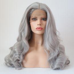 Argentina Largo gris pelucas sintéticas cosplay suelta ola fibra resistente al calor peluca de pelo parte libre atado a mano lleno de encaje pelucas delanteras para mujeres cheap long hair cosplay gray Suministro