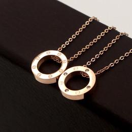 Ожерелье с круглым бриллиантом онлайн-316L титана стали розового золота винт круг подвеска ожерелья для женщин серебро 18 К золото круглое ожерелье с бриллиантом колье, ювелирные изделия