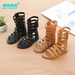 Sandales gladiateur mi-mollet en Ligne-2019 été nouvelle évider fille sandales romaines bout ouvert bottes mi-mollet chaussures de talon plat pour enfants antidérapants