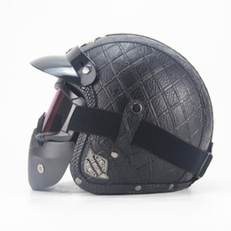 xl motocross helmet Promo Codes - Motocross helmet Mask Detachable Goggles And Mouth Filter Perfect for Open Face Motorcycle Half Helmet Vintage Helmets