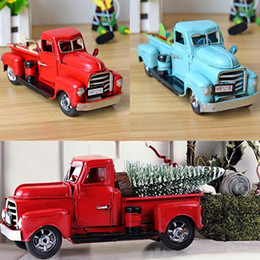 melhores mesas de crianças Desconto Vintage Vermelho Azul Caminhão De Metal Ornamento De Easter Crianças Melhores Presentes Brinquedo Mesa Decoração