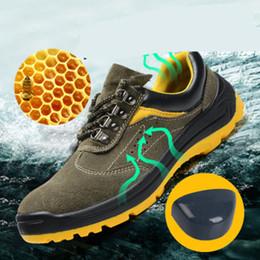 европейские кроссовки бренды Скидка Горячая марка европейского стандарта стали Toe Work Safety Shoes Мужчины, легкие теплые кроссовки, нескользящая противоударная сетка повседневная обувь.