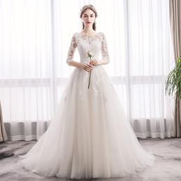 traje de ceremonia Rebajas Escote redondo Apliques de encaje Boho Vestidos de novia con medias mangas Barrido tren Vestido de novia túnica ceremonie femme