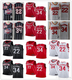 fusées rouges Promotion Hommes Houston 34 Hakeem Olajuwon 22 Clyde Drexler Throwback Blanc Rouge Noir marine Rockets Maillots De Basketball