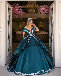 gold teal prom dresses Promo Codes - 2020 Off Shoulder Teal Blue Quinceanera Dresses Satin Arabic Ball Gown Prom Dress Sweet 16 Dress Plus Size