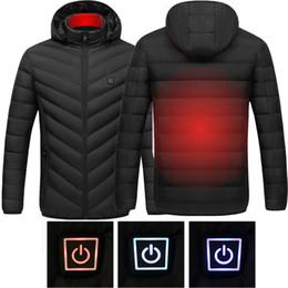 Abrigo largo térmico online-2019 Hombres Mujeres Nueva climatizada al aire libre chaleco Escudo USB batería eléctrica mangas largas calefacción chaquetas con capucha de invierno caliente de la chaqueta térmica