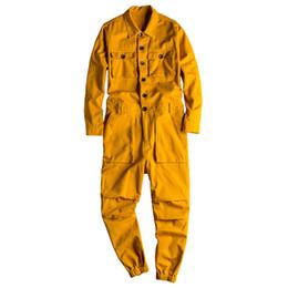 Jumpsuit calças folgadas on-line-KIMSERE Homens de moda jeans Jardineira Hip Hop Jeans Macacões por Homem Baggy soltas Fit Suspender Calças Vestuário Tamanho S-5XL